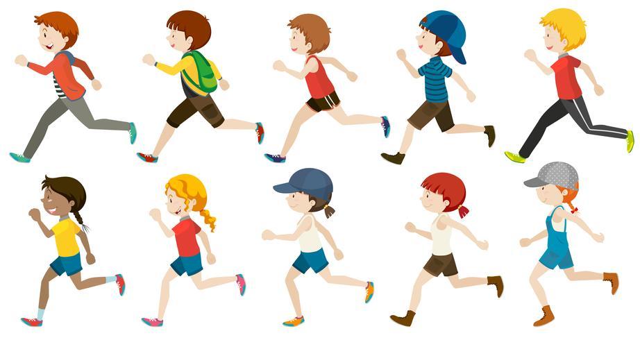 Jungen und Mädchen laufen