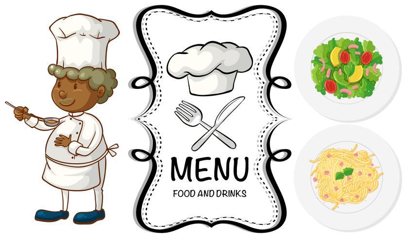 Chef masculino y comida diferente en el menú.