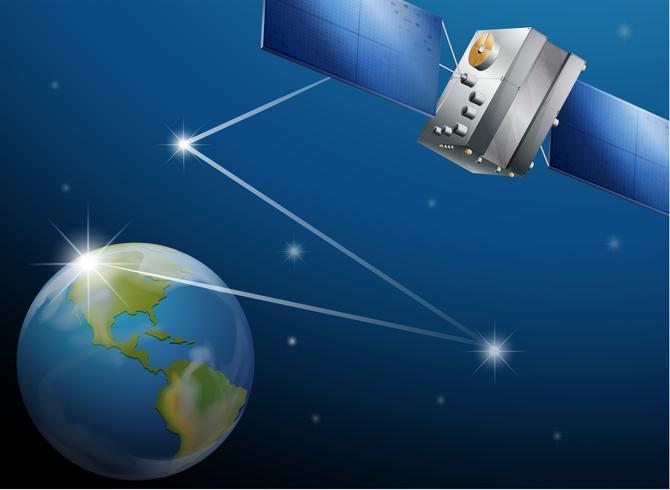 Een satelliet en de planeet aarde vector