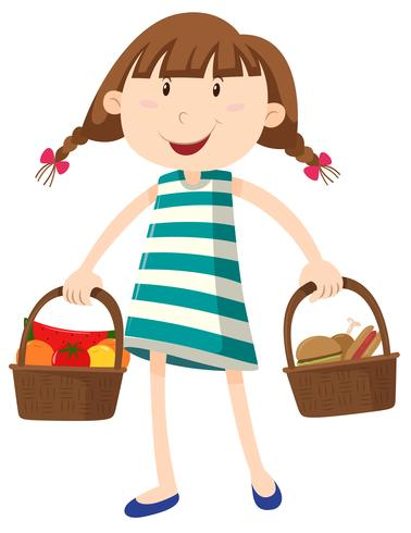 Little girl with two basket of food