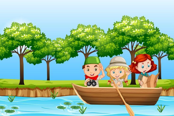 Crianças remar barco de madeira