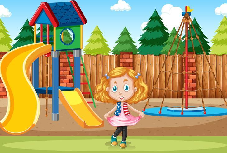 Meisje bij speelplaatsscène