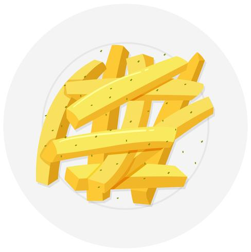 Frenchfries on round plate