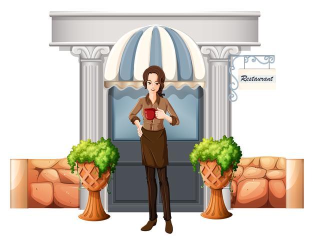 Una signora di fronte al ristorante vettore