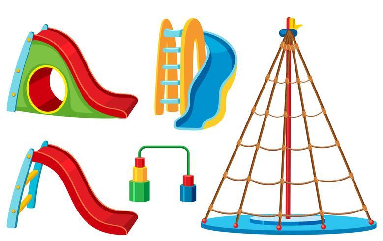 Ein Satz Spielplatzrutsche und Ausrüstung