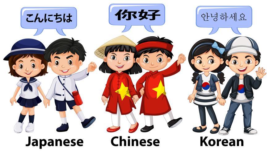 Barn från olika länder i Asien
