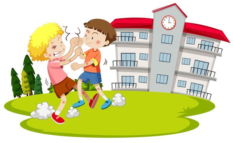 Ung pojke slåss framför skolan