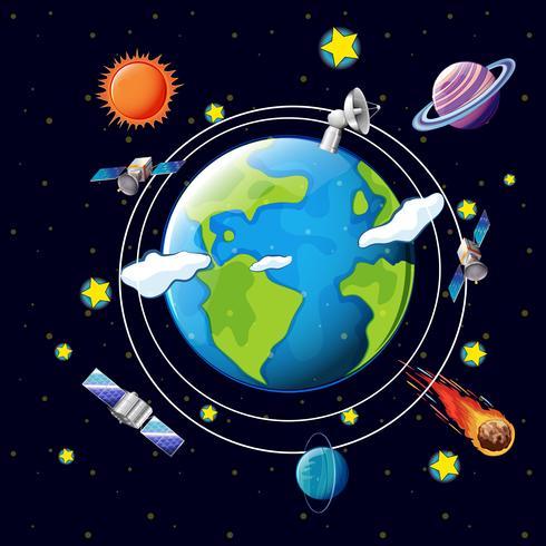 Ruimtethema met satellieten en planeten rond de aarde