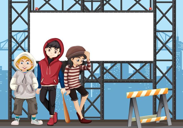 Gruppo di adolescenti sul cartellone urbano
