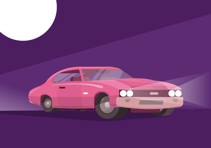 Ilustración de Vector plano de coche retro clásico