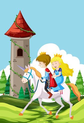 Príncipe y princesa montando a caballo