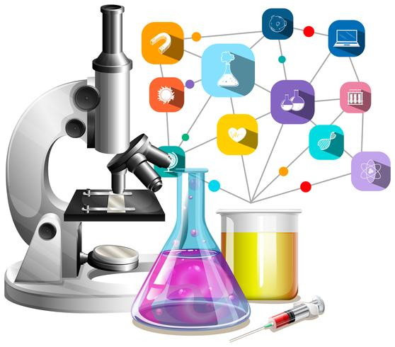 Microscope and glass beakers vector