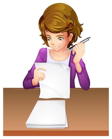Una joven mujer tomando un examen
