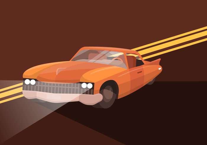 Klassieke Retro Spier Auto Platte Vector Illustratie