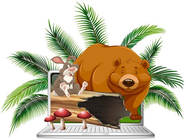 Wilder Bär und Kaninchen auf dem Bildschirm