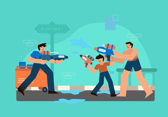 Water Gun War At Songkran Festival Vector Illustration