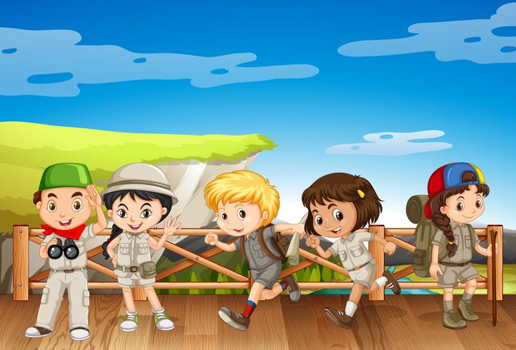 Five kids in safari costume on the bridge