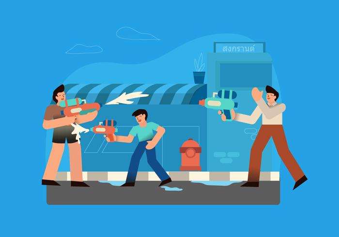 Guerra de armas de agua en el festival de Songkran, ilustración vectorial vector