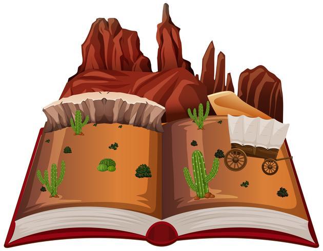 Open book western desert theme vector