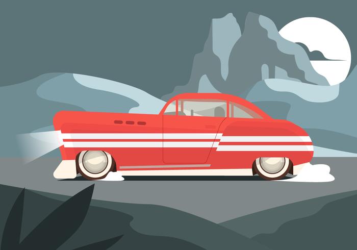 Coche rojo retro en el camino en la noche ilustración vectorial