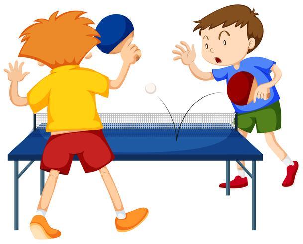 Gente jugando tenis de mesa