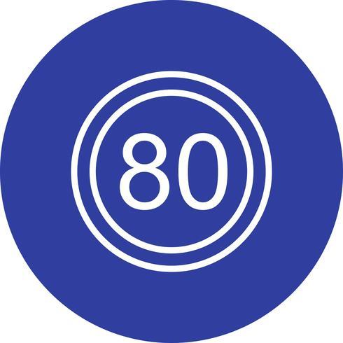 Vector icono de límite de velocidad 80