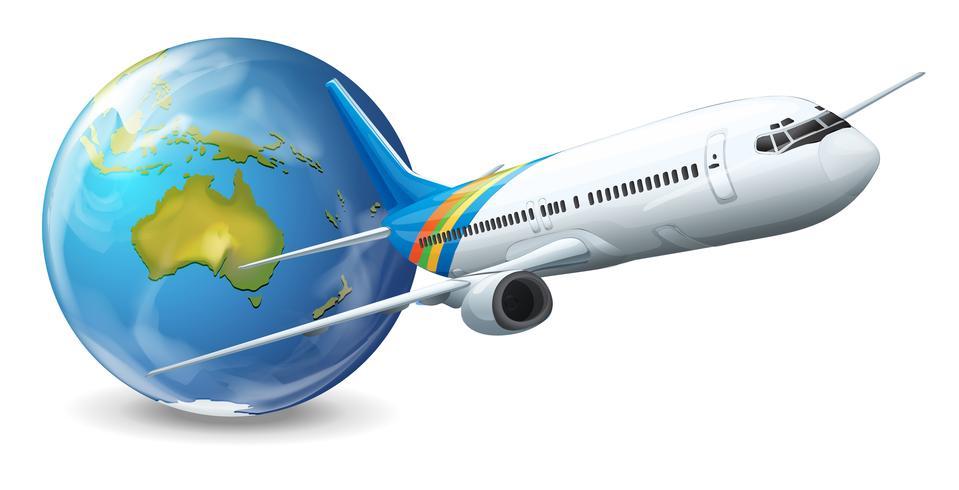 Erdkugel und Flugzeug