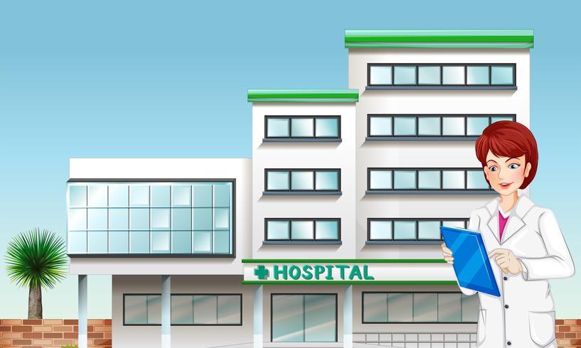 Ein Arzt außerhalb des Krankenhausgebäudes
