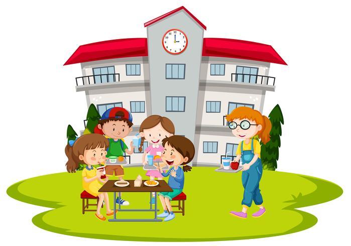 Crianças, tendo almoço, em, escola