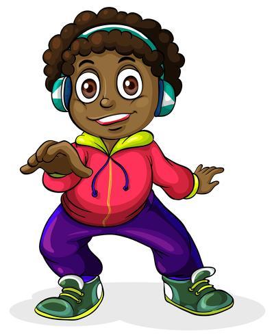 Un giovane uomo di colore che ascolta la musica vettore