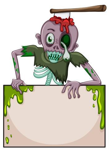 Un zombie sosteniendo un letrero vacío.