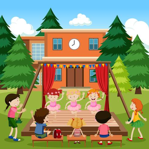 Ballet de rendimiento para niñas al aire libre