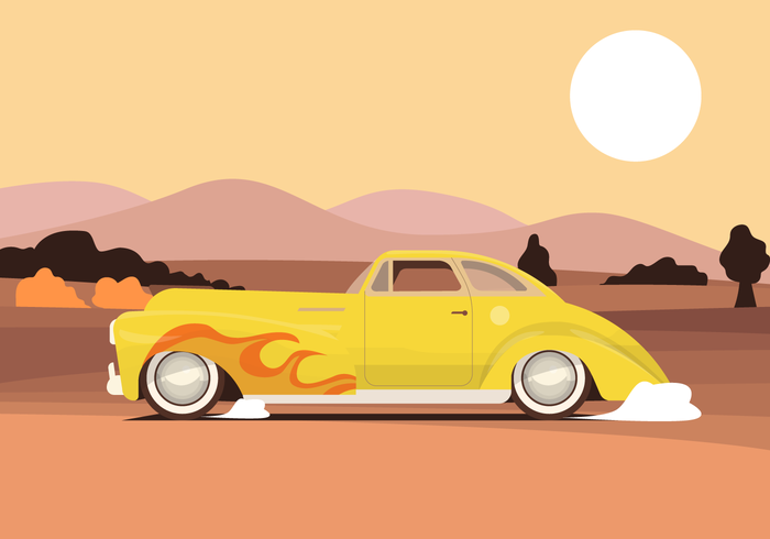 Cuidado de músculo de despedida vintage na ilustração vetorial de estrada