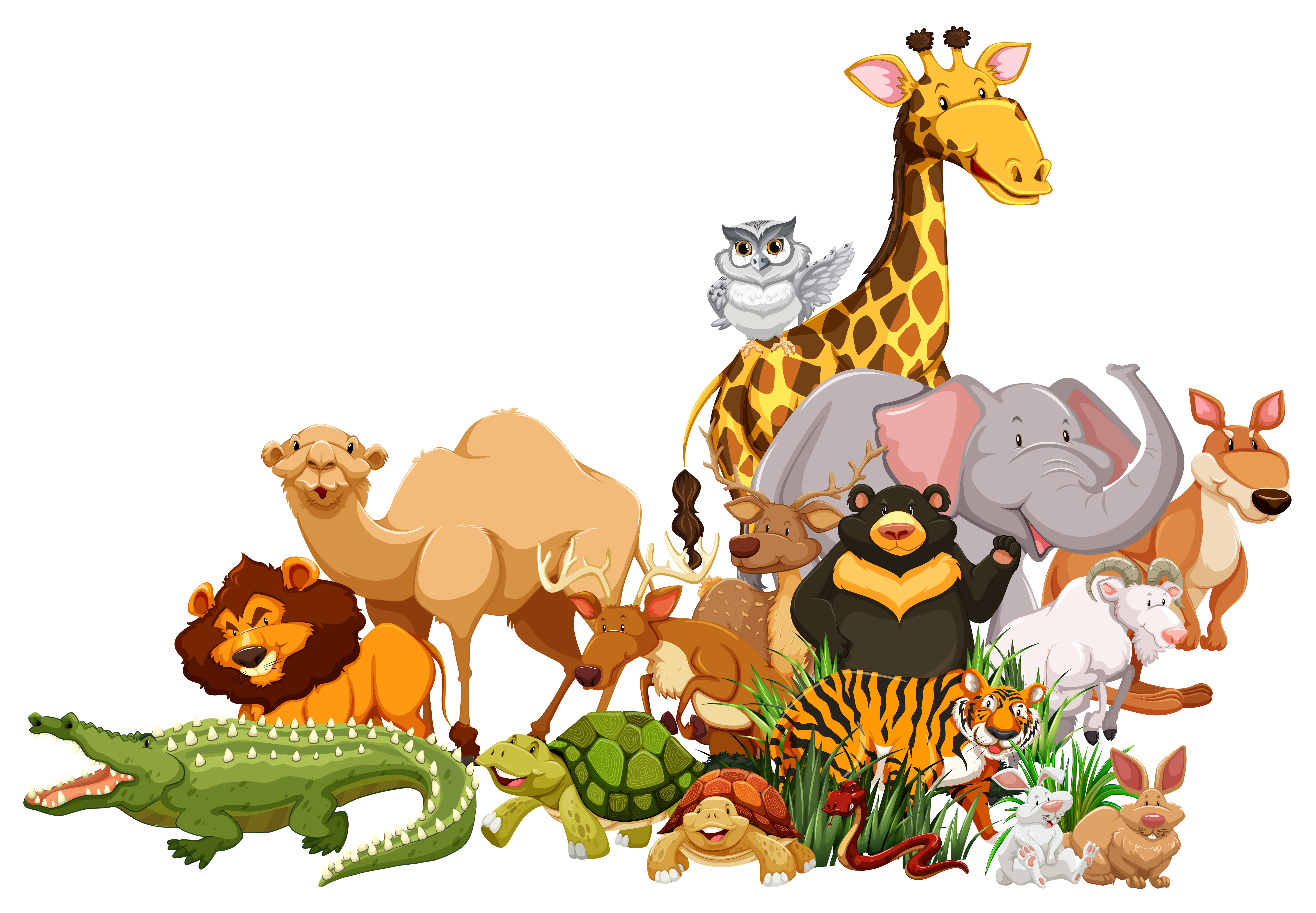 animals together wild different types clipart animal vector illustration cartoon clip zoo graphics vecteezy drawings vectors drawing camel cliparts cute