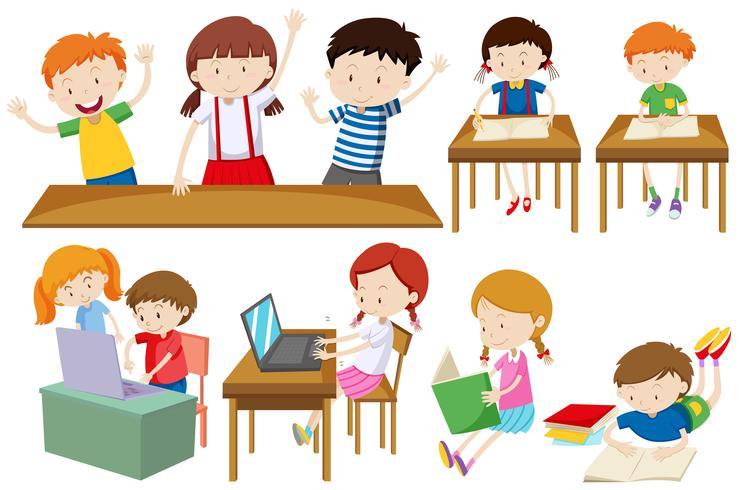 Eleverna lär sig och läser