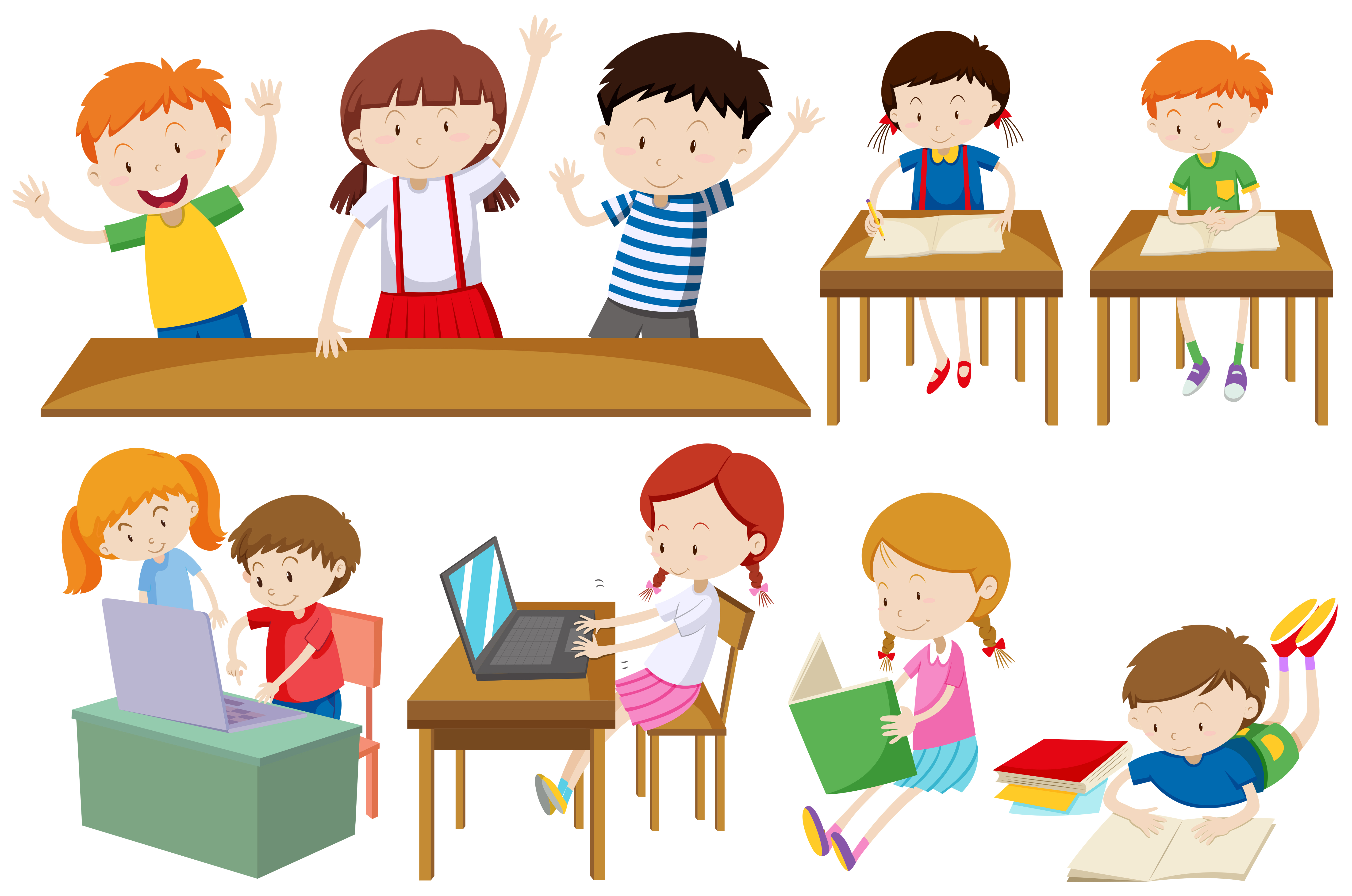 Students learning and reading - Download Free Vectors ...