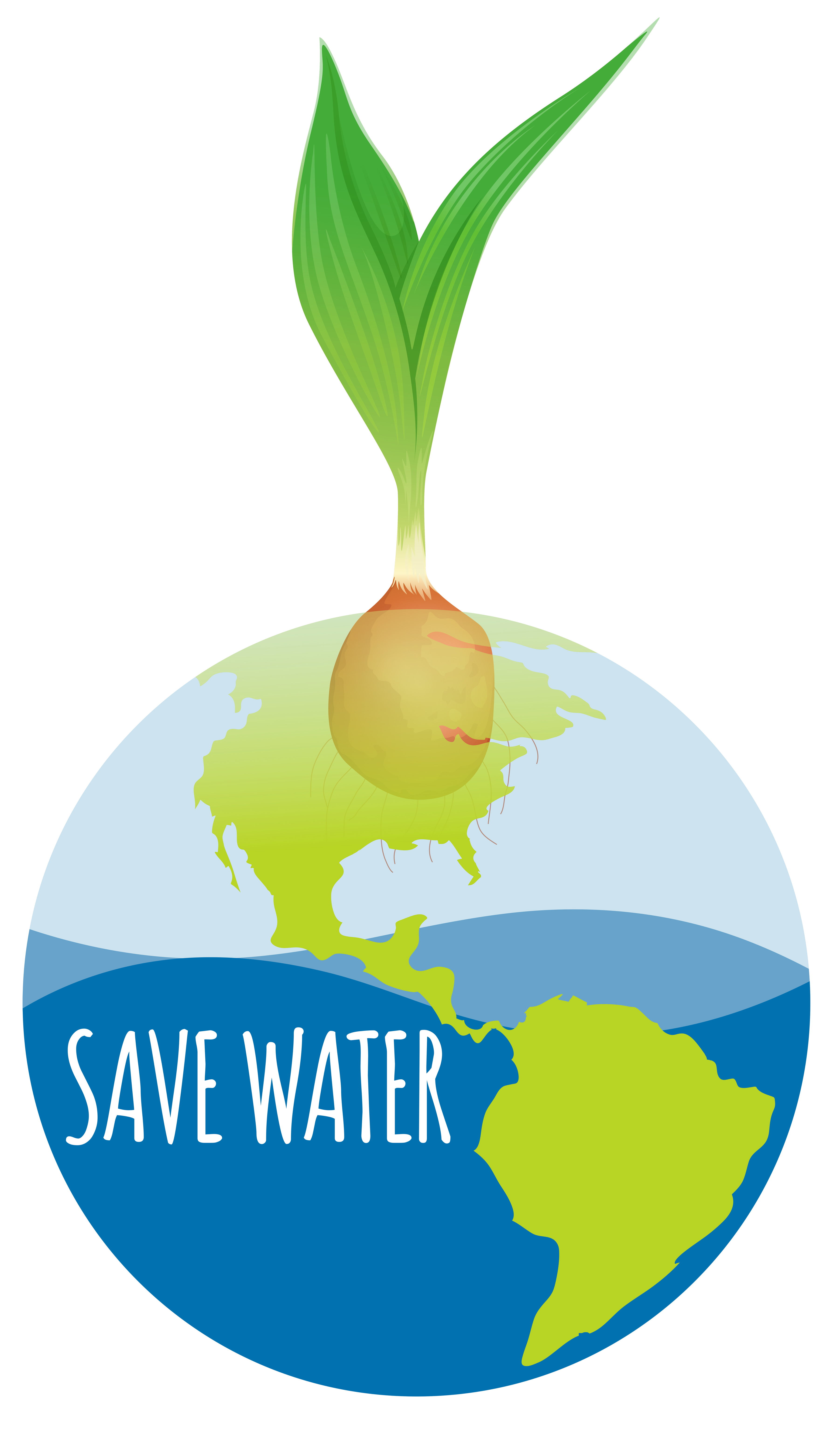 Save Water Diagram With Earth And Plant