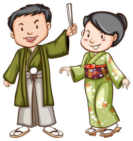 Un dibujo coloreado de una pareja con un vestido asiático.