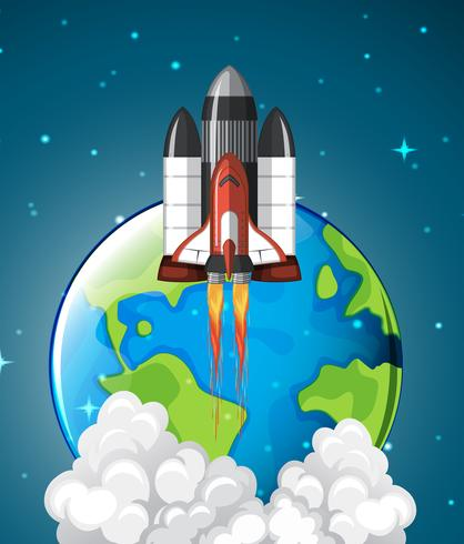 Een spaceshuttle-raket die aarde verlaat