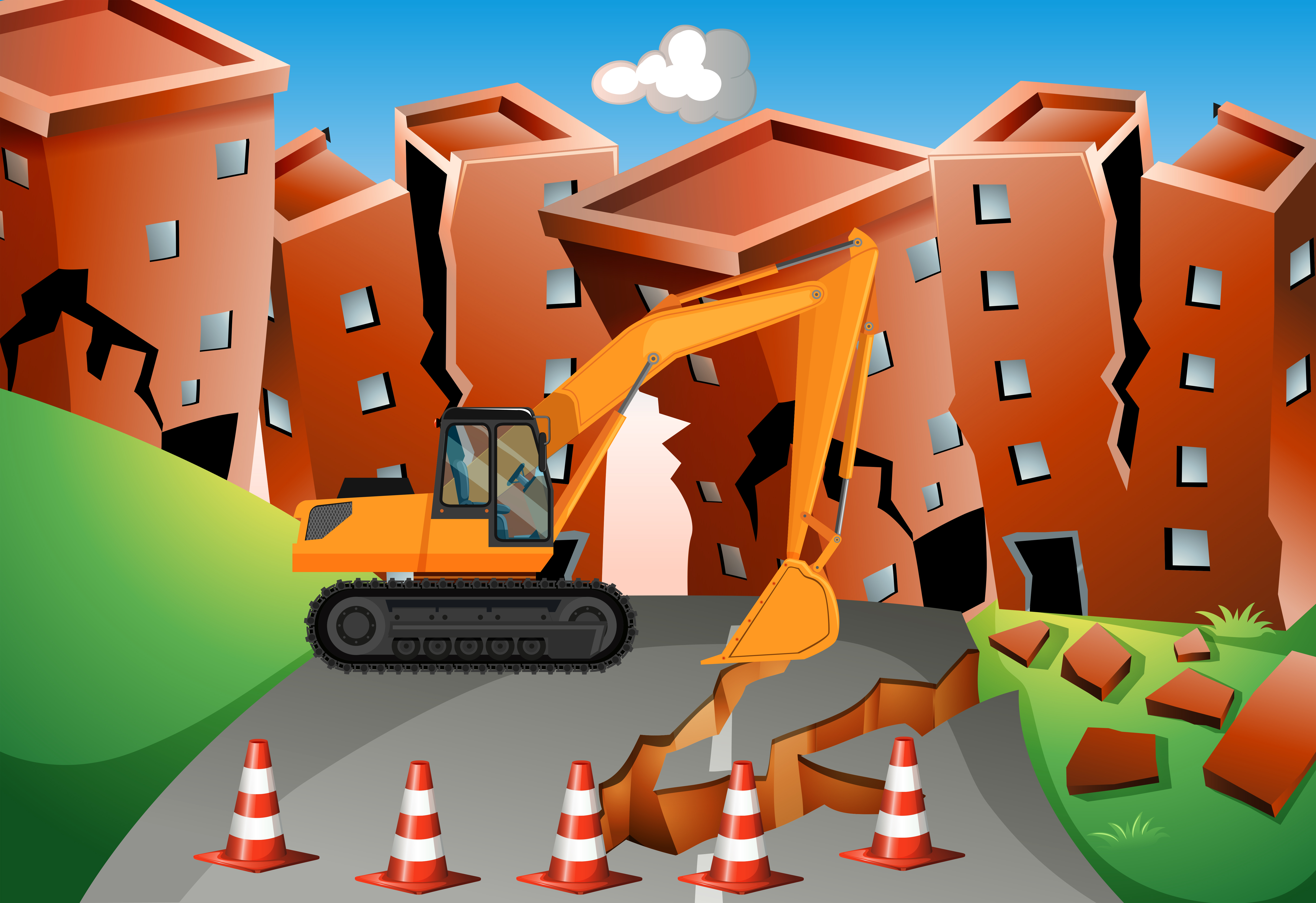 Earthquake Scene With Bulldozer And Buildings Download