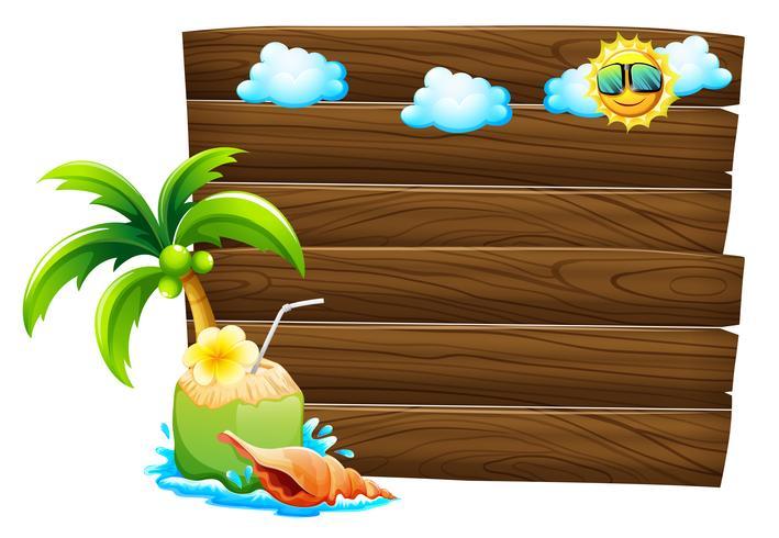 Lege houten uithangborden met strandmalplaatjes