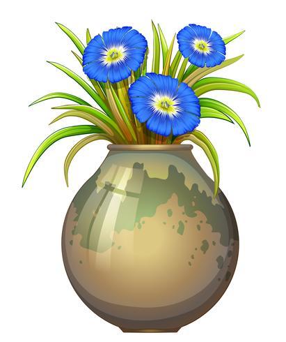 Una maceta con flores azules.