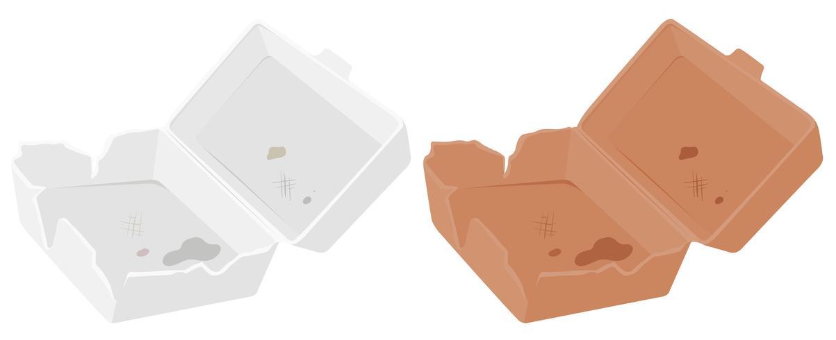 Conjunto de caja de plástico y cartón.
