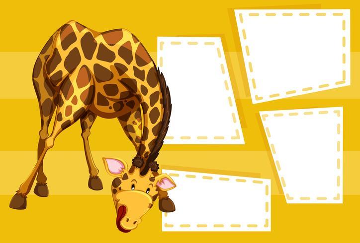 Una jirafa en nota en blanco