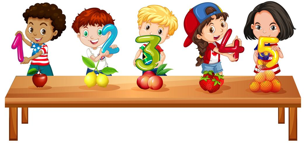 Children counting numbers one to five - Download Free