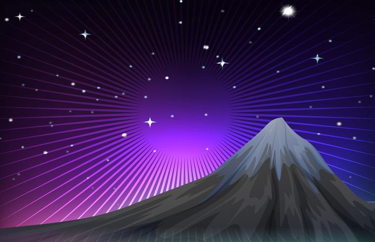 Cena da natureza com mounatain à noite