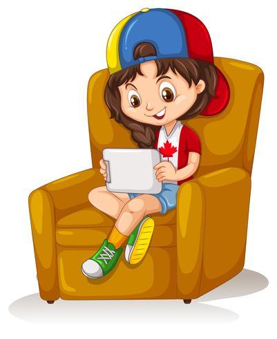 Niña, con, tableta, sentado, en, silla