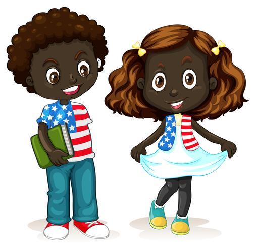 Niño y niña afroamericanos