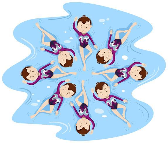 Natación sincronizada mujer en grupo.