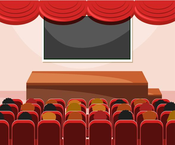 Interior de escenario con audiencia.